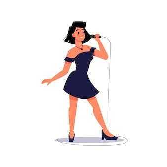 Певица поет в микрофон, изолированные дама в вечернем платье вектор солистка поет
