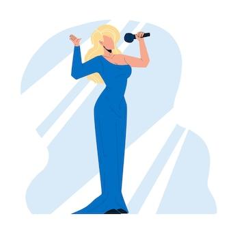 マイクのベクトルで歌を歌う女性歌手。マイクの電子機器を保持している魅力的なイブニングドレスのブロンドの髪の若い女の子の歌手。才能のあるエレガントなキャラクターレディフラット漫画イラスト