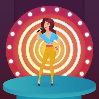 Певица-звезда поет поп-песню с микрофоном, стоя на современной сцене круга с иллюстрацией ламп