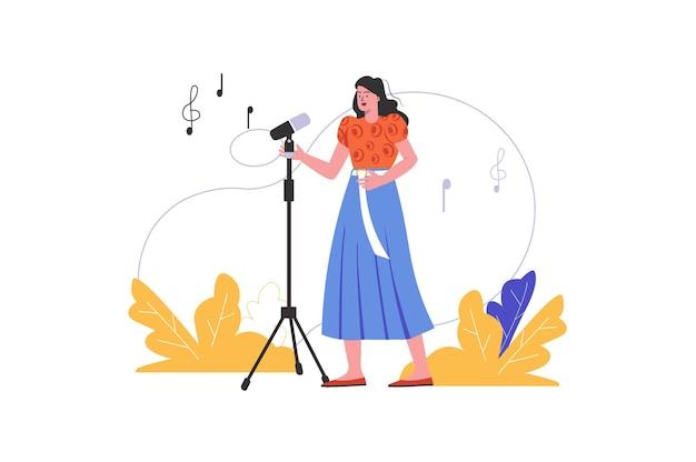 Женщина поет, стоя перед микрофоном. молодая девушка исполняет песню в караоке, изолированную сцену людей. выступление художника на концепции мероприятия. векторная иллюстрация в плоском минималистском дизайне
