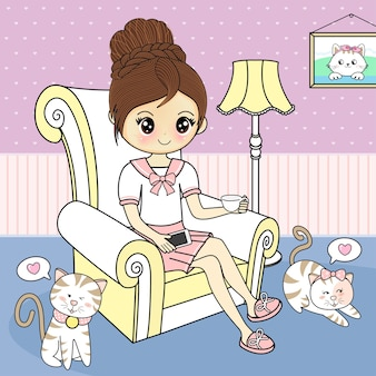 Woman sipping coffee on sofa there are cute pets