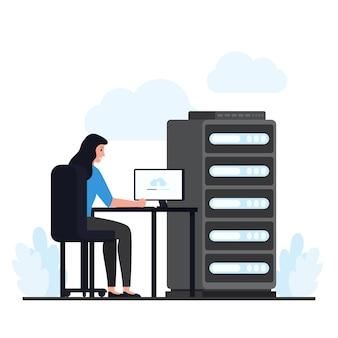 Женщина сидит за столом и проверяет облачный хостинг на сервере. плоский облачный хостинг иллюстрации.