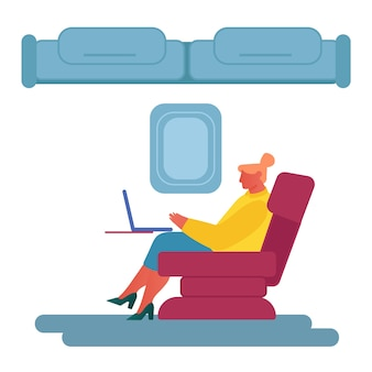 Woman sit in comfortable airplane seat