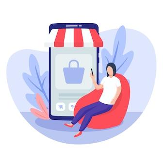 Женщина сидит на стуле мешка фасоли для концепции передвижного дома покупок с современным плоским стилем