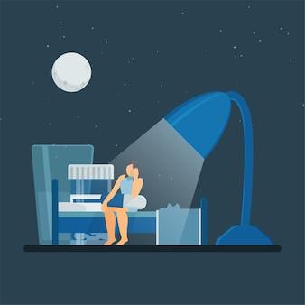 여자는 불면증의 밤 비유에 책상 램프 아래 캡슐과 물로 침대에 앉아있다.