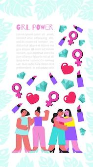 孤立したアイテムの女性のシンボルと落書きの女の子の人間のキャラクターを持つ女性サイト フラット垂直バナー