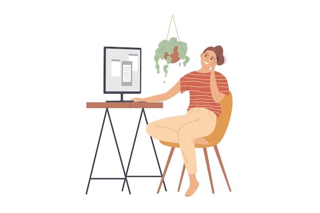 女性はモニターの前に座って電話で話します。