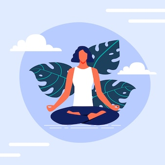 Woman in sits lotus position on background clouds.