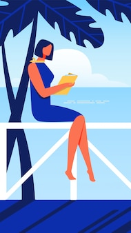 Woman sits on parapet. seashore with book in hand.