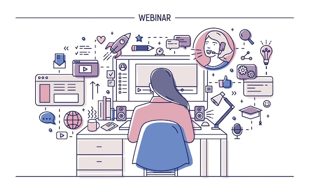 Женщина сидит за столом с компьютером в окружении веб-символов и пиктограмм