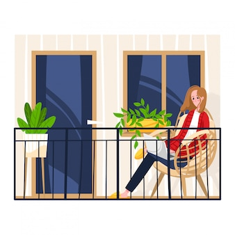 Woman sitting balcony own apartment, female work and relax on remote workplace terrace isolated on white, cartoon illustration.