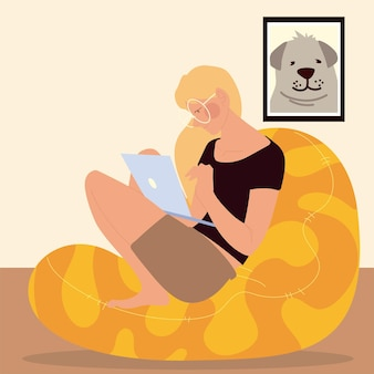 Woman sitting on the bean chair working on laptop, work at home  illustration