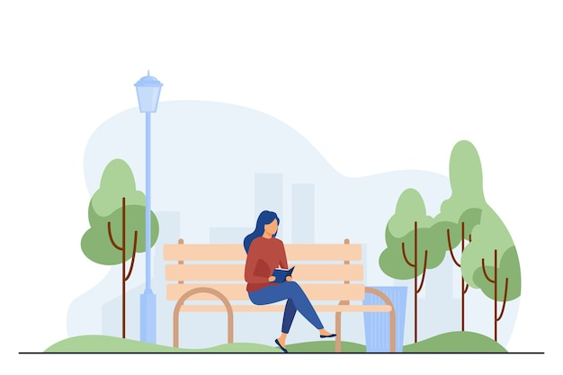 Woman sitting on bench and reading book. park, city, relaxation flat vector illustration. weekend and nature concept