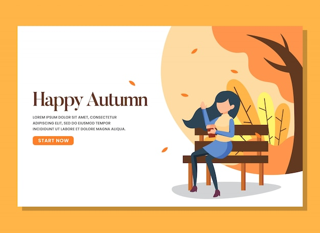 A woman sitting in the bench in the warm autumn day landing page