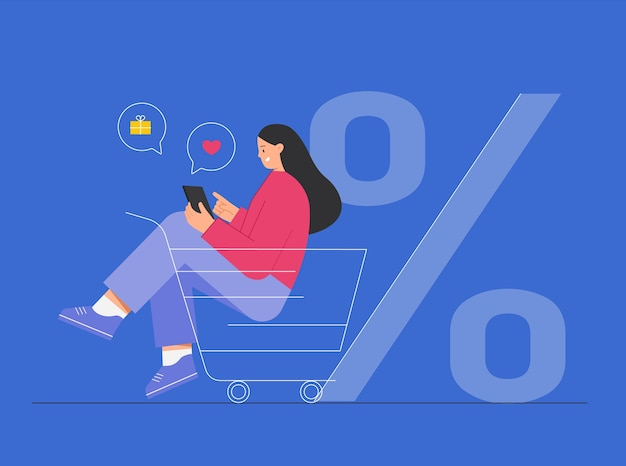 Woman sitting in cart and shopping online, around icons with purchases.