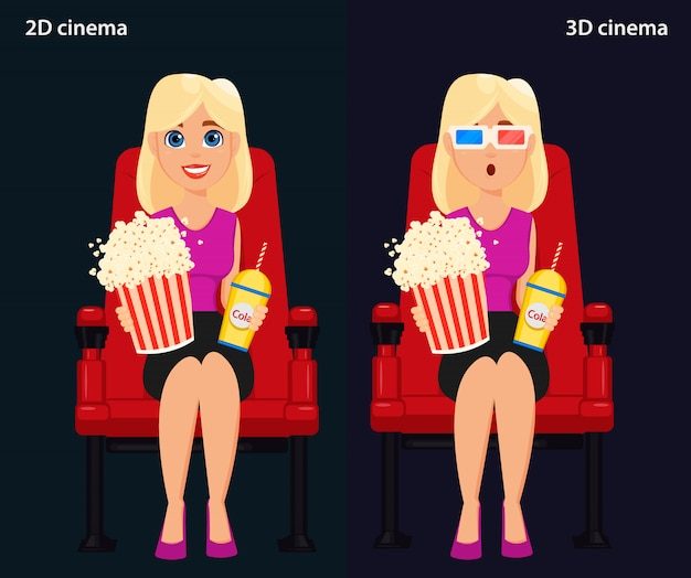Woman sitting in the cinema and watching a movie