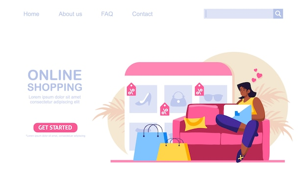 A woman sitting on a couch, shop at online store . the product catalog on the web browser page. online shopping concept illustration, perfect for web design, banner, mobile app, landing page.