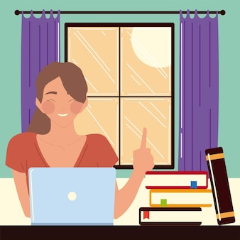 Woman sitting at desk in room, looking at computer screen, work at home  illustration