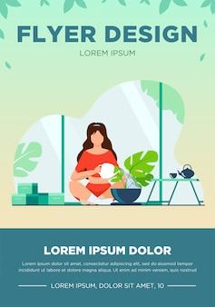 Donna seduta sul pavimento e impianto di irrigazione. casa, acqua, illustrazione vettoriale piatto foglia. hobby e concetto di giardino di casa