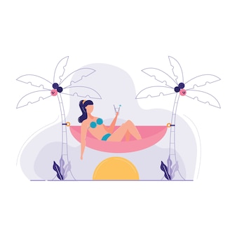 Woman sitting hammock around sea vector illustration