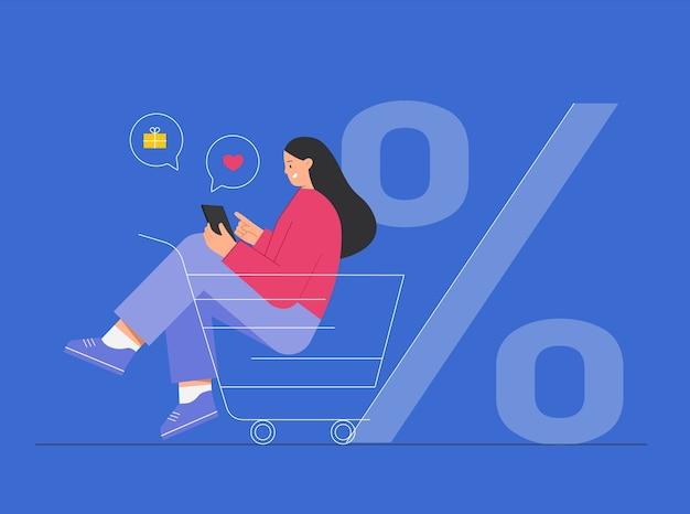 장바구니에 앉아 온라인 쇼핑, 구매 아이콘 주위에 여자.