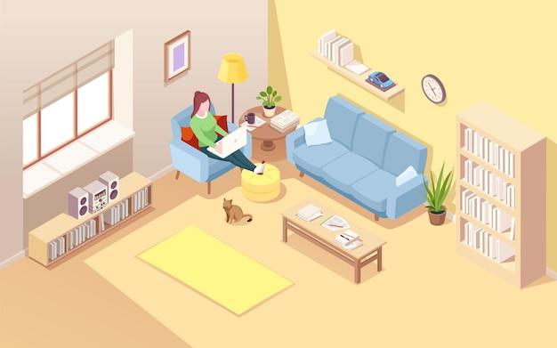 프리랜서 작업 또는 원격 작업을 수행하는 노트북으로 의자에 앉아있는 여자.