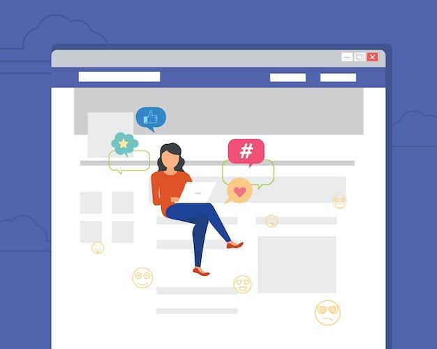 ニュースを読むためのラップトップを使用してページに座っている女性