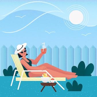 Женщина, сидящая на солнце концепция отдыха