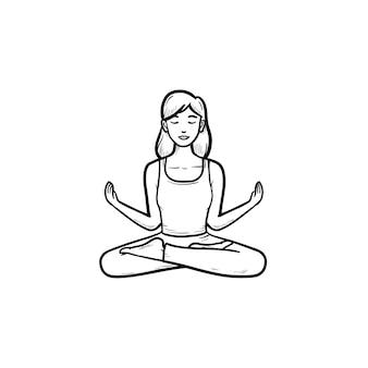 Женщина, сидящая в позе лотоса йоги, рисованной наброски каракули значок. здоровый образ жизни, хорошее самочувствие, концепция релаксации