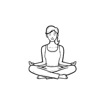 ヨガ蓮座に座っている女性は、手描きのアウトライン落書きアイコンをポーズします。瞑想、ウェルネス、リラクゼーションの概念