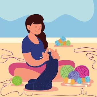 Женщина сидит вязание