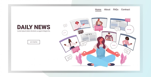 Woman sitting lotus pose discussing daily news with friends in web browser windows chat bubble communication concept people having virtual conference horizontal copy space illustration