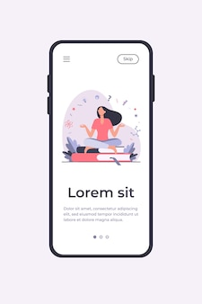 Woman sitting and meditating on pile of books. student, study, learning flat vector illustration. education and knowledge concept mobile app template