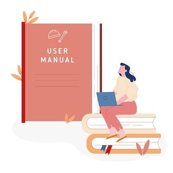 Женщина, сидящая на стопке книг с ноутбуком