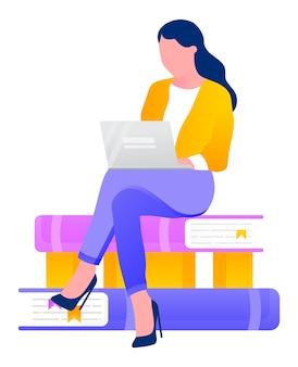 答えを探している本の山に座っている女性