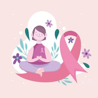 핑크 리본에 앉아있는 여자