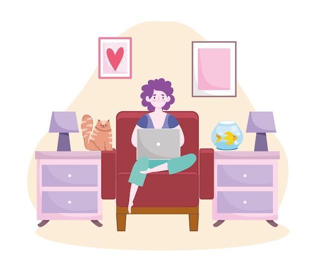 コンピューターのホームオフィスのイラストに取り組んでいる椅子に座っている女性