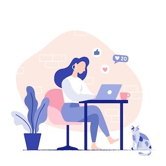 ラップトップに取り組んでいる椅子に座っている女性。フリーランサーの在宅勤務地。ベクトルフラット図