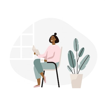 Woman sitting and reading a book at home. weekend break, relaxation. flat  illustration.