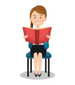 Woman sitting reading book