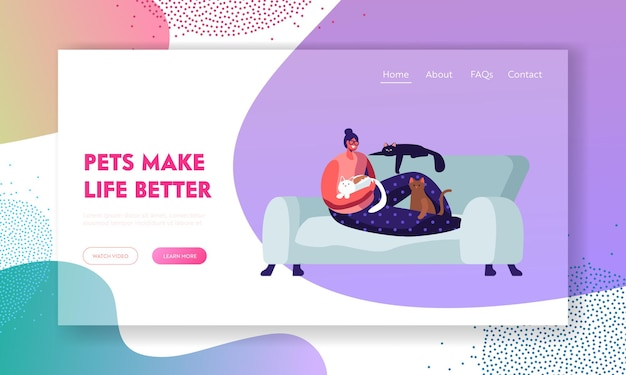 Woman sitting on sofa at home with many cats around. love to animals, female character spend time with pets, leisure, relations website landing page, web page. cartoon flat vector illustration