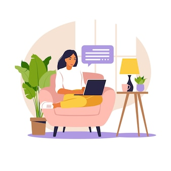 Woman sitting at table with laptop working from home illustration