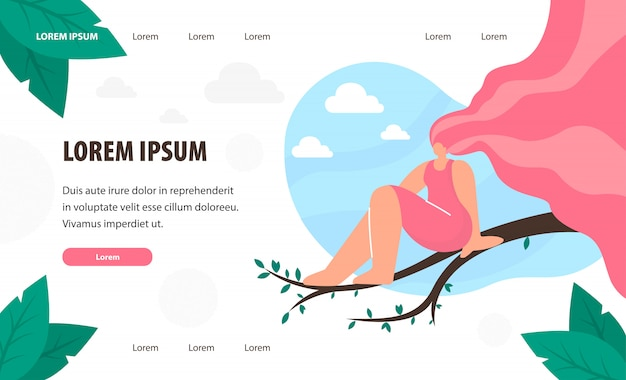 Woman sitting on tree branch landing page template.