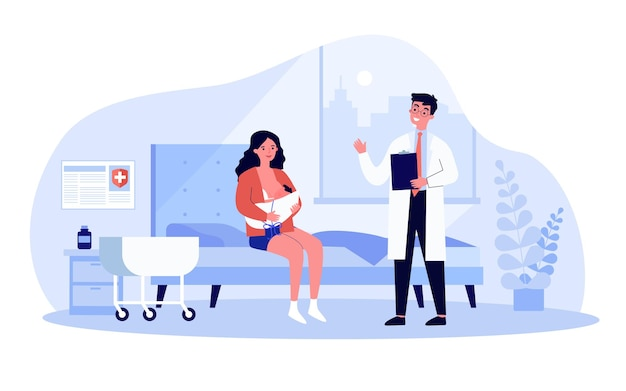 Woman sitting in ward and breastfeeding her newborn child. flat vector illustration. doctor talking with new mother, holding baby to her breast. motherhood, birth, breastfeeding, medical care concept