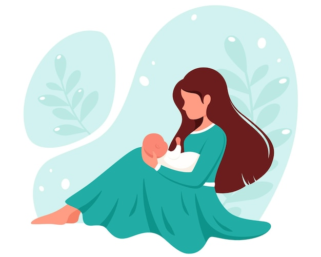 아기와 함께 앉아있는 여자. 모성, 육아