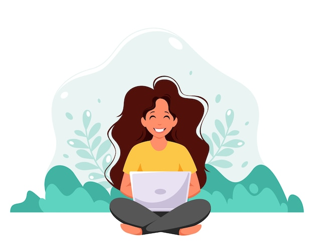 자연 배경에서 노트북으로 앉아 여자입니다. 프리랜서, 온라인 공부, 가정 개념에서 작동합니다. 플랫 스타일.
