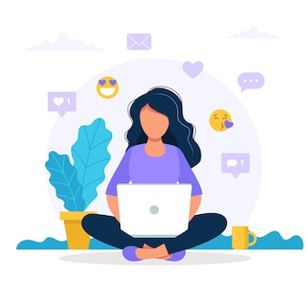 Woman sitting with a laptop, social media icons.