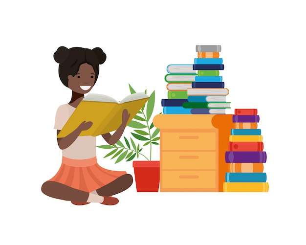 Woman sitting with stack of books