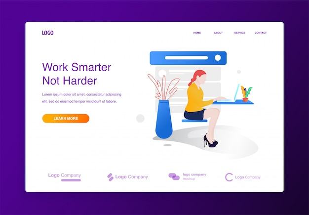 Woman sitting working with laptop illustration concept for website or landing page