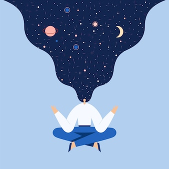 Woman sitting in yoga lotus pose. night starry sky and moon in hair.  flat illustration.
